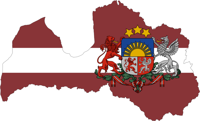 Latvia-Map-Flag-With-Stroke-And-Coat-Of-Arms